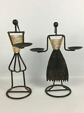 "Pair Of 11"" Metal Frame Wire Tribal Statue Candlestick Holders Made In Indonesia"