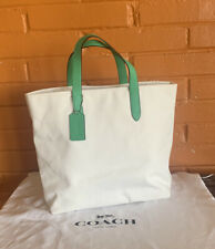 COACH Tote Handbags Canvas white/Gr