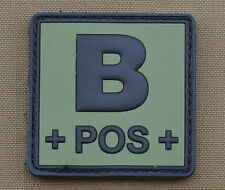 "PVC / Rubber Patch ""Blood type B POS + OD"" with VELCRO® brand hook"