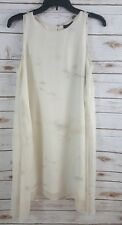 EILEEN FISHER Dress Size XS Bone Tonal Cloud Shibori Silk Jewel Neck Shift $398
