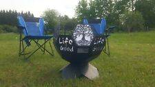 New listing Fire Pit Life is Good/Tree of Life Geodesic Wood Burning Fire Bowl Heavy Duty