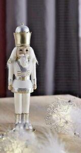 Nussknacker König H. 23cm Steingut Weihnachten Deko Figur weiß/silber/gold Forma
