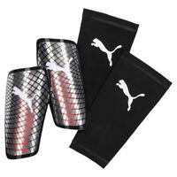 Puma Standalone Football Soccer Shinguard Shin Pad + Sleeve Silver/Red - S