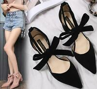 Womens Pointed Toe Bowknot Block High Heels Casual Sandals Shoes Plus Sz 35-43