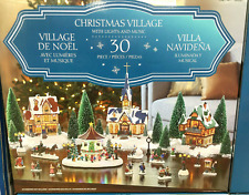 Christmas Village Scene With LED Lights & Musical Gazebo - 30 Pieces xmas