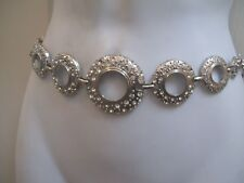 Dressy Chain Hip & Waist Belt Silver Circular Chains Encrusted with Rhinestones