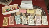 Vintage C 1935 MONOPOLY Game Pieces Wood Hotels Houses Metal Tokens,Money Cards