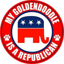 "MY GOLDENDOODLE IS A REPUBLICAN 5"" DOG STICKER"