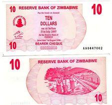Zimbabwe Billet 10 $  DOLLAR 2007 BEARER P39  NEUF UNC