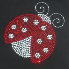 """6.4"""" red/clear Ladybug iron on rhinestone transfer applique bling patch decal"""