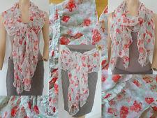 Romantik Schal Tuch Damen leichtes Mischgewebe bunt geblümt Rüschen 1A