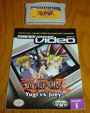 Nintendo Gameboy Advance Video Yu-Gi-Oh YUGI vs JOEY Volume 1 with Manual NICE!!