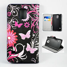Purple Leather Cover Flip Slots Wallet Case Skin For Samsung Galaxy S5 S V I9600