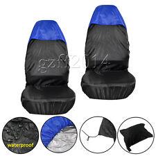 2 UNIVERSAL CAR/VAN WATERPROOF Nylon BLUE / BLACK FRONT SEAT COVERS / PROTECTORS
