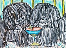 Puli Drinking Coffee Pulik Dog Pop Folk Vintage Art 8 x 10 Signed Giclee Print