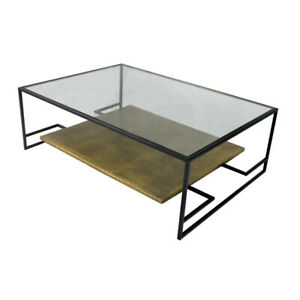 """54"""" L Table Coffee Table Glass Top Open Iron Frame Bronze Clad Shelf Modern"""