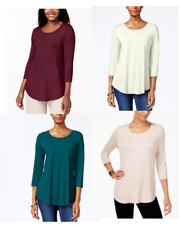 NEW Womens JM Collection Three-Quarter-Sleeve Scoop-Neck Top Choose Size & Color
