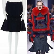 "new SACAI AW15 black wool fitted kick flare pleated hem knee skirt JP2 28"""