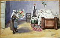 Hand-Drawn/Painted, Artist-Signed 1910 Original Art Postcard: Maid & Baby