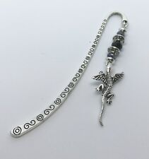 Dragon Bookmark. Game Of Thrones Inspired Black, Tibetan Silver. Gift