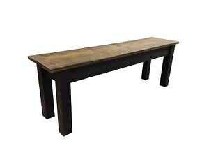 Dark Walnut & Black Bench Farmhouse Bench (Rustic / Dinning / Entryway / Mudroom