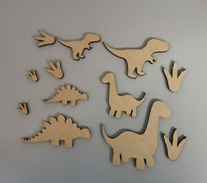 Wooden MDF Dinosaur set with foot prints Shapes Craft x12 Embellishments