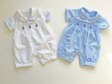 Baby Boys Spanish Style Boat Smocked Romper Traditional Blue White 0-9M