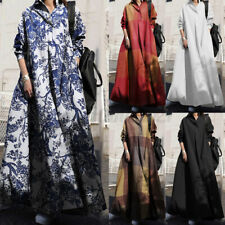 ZANZEA UK Women Long Sleeve Floral Printed Cotton Kaftan Casual Loose Maxi Dress