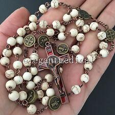 White Turquoise beads Vintage Catholic St. Benedict Rosary Cross Necklace Gift