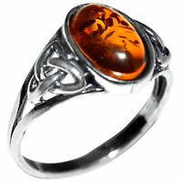 3.11g Authentic Baltic Amber 925 Sterling Silver Ring Jewelry N-A7390
