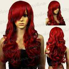 Dark Red Curly Long Cosplay Wig - 26 inch High Temp - CosplayDNA Wigs