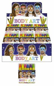 Neon Coloured Face Paint/Body Art, 6 Neon Colours, retail box of 36 packs, PTA