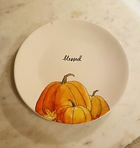 """RAE DUNN Thanksgiving BLESSED Salad Appetizer 8"""" Plate Chipped"""