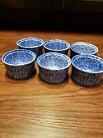 Set of  6 Coche Stoneware Blue Speckled Bowls Handmade in Portugal