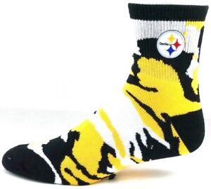 Pittsburgh Steelers Football Gold & Black Camouflage Deuce Quarter Socks
