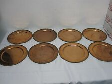 """SET OF 8 VINTAGE 1979 MEXICO COBRE COPPER with BRASS EDGE 11 1/4"""" CHARGER PLATES"""