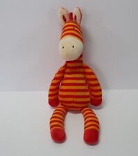 "Little Jellycat Zany Zebra orange red striped plush toy 14"""