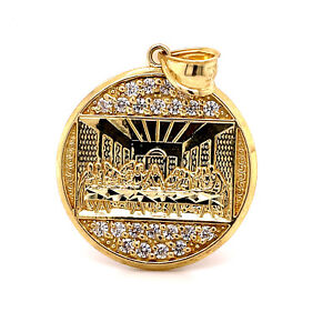 """10K Solid Yellow Gold Last Supper Jesus Religious Pendant 5.5 Gr 1.18"""" Large"""