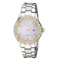 Citizen Eco-Drive Elektra Women's Diamond Accents Two-Tone 32mm Watch EW2514-59D