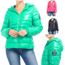 Womens Brave Soul Everett Cire Shiny Quilted Padded Hooded Puffer Ladies Jacket