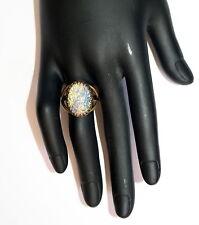 Czech foil opal art glass pastel multi colour antiqued brass adjustable Ring