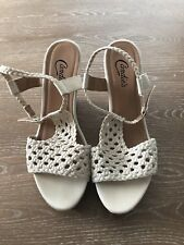 Candies Platform Wedge Shoes With Ankle Strap Tee Shape Lattice Top Size 7