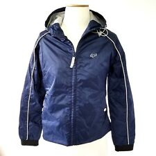 Fox Racing Nylon Jacket Boys Xs Hooded Mesh Lining Front Zip Navy