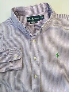 Ralph Lauren Purple White Striped Shirt Sz XL CUSTOM FIT (SLIM)