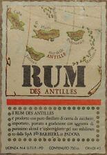 ETICHETTA RUM DES ANTILLES ISLANDS ANTILLE SPIRIT LABEL LABELS CUBA
