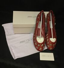 AUTHENTIC JIMMY CHOO Red Leather Silver Star Studded Ballet Flats Size 38.5