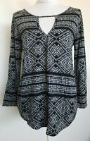 Lucky Brand  Knit Top Blouse 3/4 Sleeve Navy Printed Size S NWT