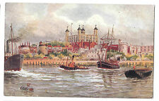 Thames Scene w Tug & Sailing ship, Tower of London PC, Unposted By Gale & Polden