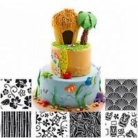 6pcs Plastic Fondant Cake Sugar Craft DIY Mat Texture Cookie Decor Mold Set