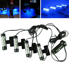 4In1 Bright Car Interior Neon Blue 3-LED Lights Kit Glow 12V Lamp with Charger